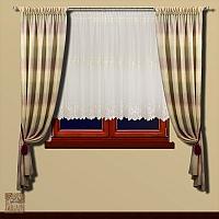 Zasłony w pasy poziome szer 137-60 cm/wys 235 cm kresz w bezowych odcieniach
