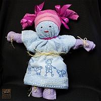 Lalka niebiesko-różowo-wrzosowa  z 3 szt ręczników 30/50 i 1 szt  50/80