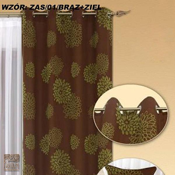 Zasłona na kołach szer 140 cm/wys 250 cm  brązowa z zielonymi dmuchawcami ZAS/01/BRĄZ + ZIEL