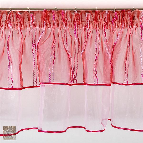 Lambrekin z metra 31 cm wys II warstwy organza róż i ciemny róż w paski