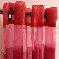 Zasłonka na kołach 140/245 z organzy  róż z czerwienią GF-FABIAK-140/245-03