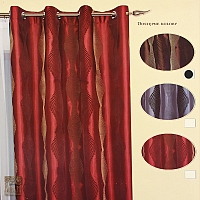 Zasłona na kołach szer 140 cm/wys 250 cm, tafta brąz z flokowym afrykańskim wzorem