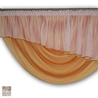 Dekoracja szer 645-250 cm/wys 260 cm lambr woal biel haft z lam, woda kresz, szal z woalu z rozetą