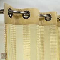 Szal szer 145 cm /wys 270 cm na kołach organza złoto żółta pasy  listwa z tafty