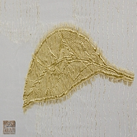 Firana Ewuś szer 230-150 cm/wys 252 cm na szelkach organza aplikacja ecru w liście złote