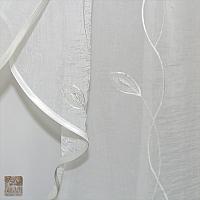 Firana szer 200 cm /wys 150 cm  woda kresz ecri haft z haftowanym listkiem