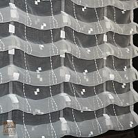 Roleta rzymska 170/135 organza biel kresz wzór kwadraty w pionie, wykończona taftą brąz