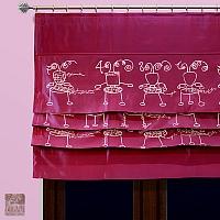 Roletka szer 120 cm / wys 85 cm z tafty różowej w stalowe ufoludki