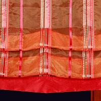 Roleta szer 95 cm/wys 162 cm listwy z tafty czerwonej organza czerwono pomar pasy