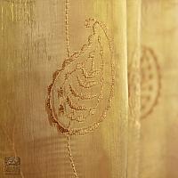 Zasłony szer 140-60 cm/wys 180 cm organza miodowa wzór esy i listki