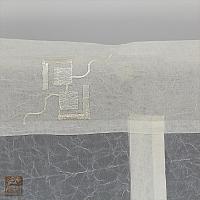 Firana szer 200 cm/wys 140 cm kresz ecru wzór geometria , podwiązana szarfami