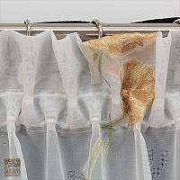 Firana szer 360-180 cm/wys 160 cm woal ecru aplik kwiat złoty