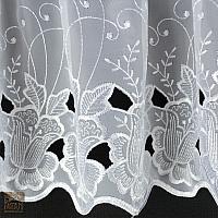 Firana szer 190 cm/wys 70 cm + zazdrostka szer 190 cm/wys 30 cm woal haft biel w tulipany