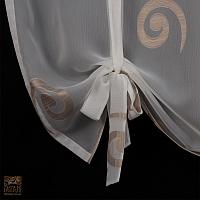 Firana szer 110 cm/ wys 100 cm woal ecru wzór ślimak podwiązany szarfami