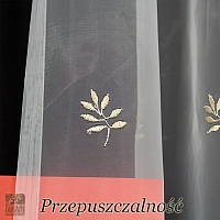 Firanka szer 265-130 cm/wys 160cm organza ecru listki złote + smok ze złotego shantungu + ozdobna listwa na dole
