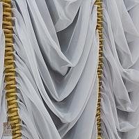 Firanka szer 245-140 cm / wys 105 woal biały w pionowe marszczone pasy z szantungu