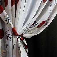 Zasłonki szer 155-100 cm / wys 245 cm z woalu białego i kolorowego w tulipany