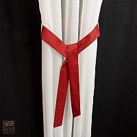 Szale szer 125- 60 cm / wys 245  z woalu gładkiego ecru połączone z woalem wi czerwone maki.